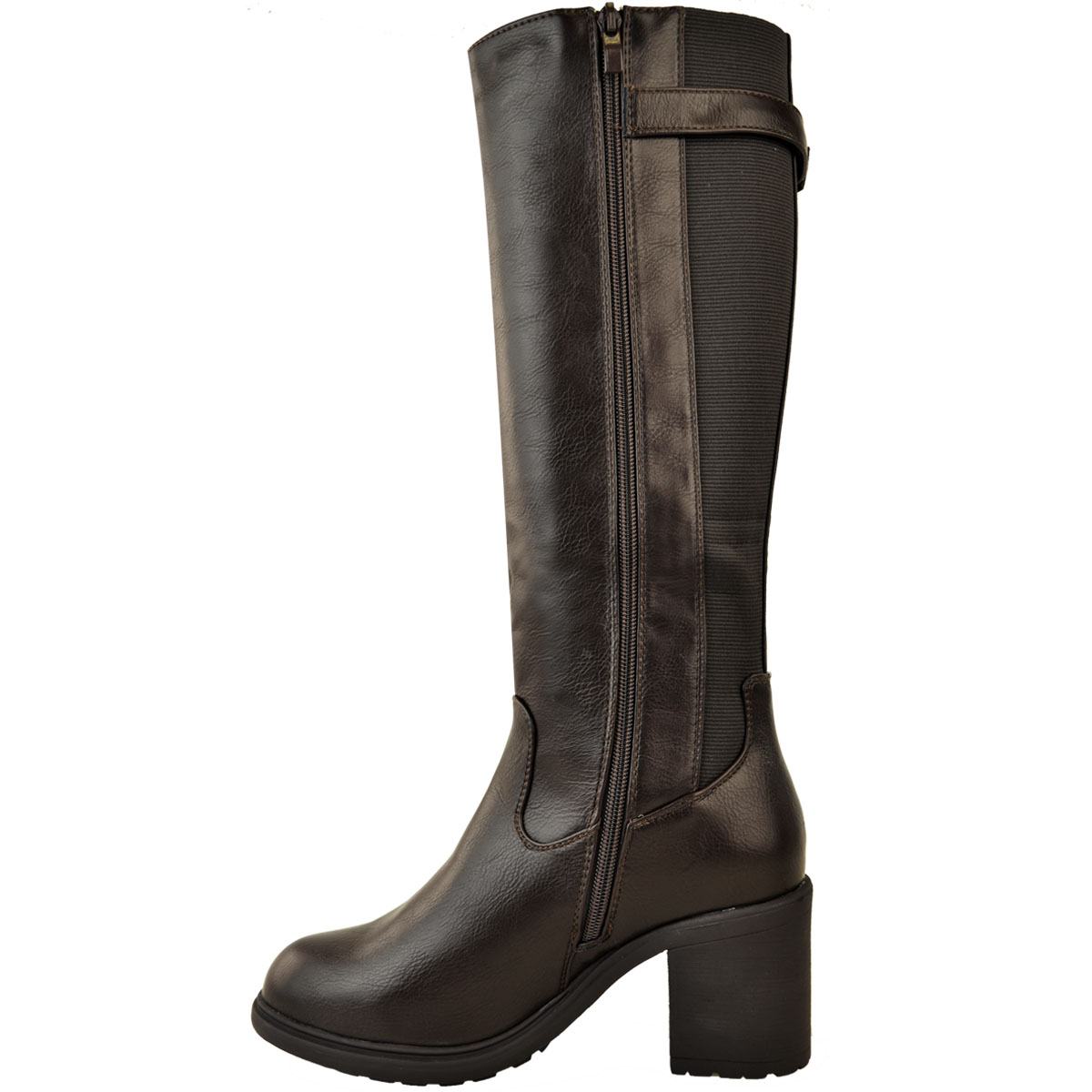 Womens-Ladies-Calf-High-Boots-Riding-Stretch-Wide-Leg-Low-Block-Heel-Winter-Size thumbnail 10