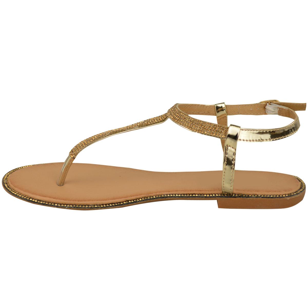Para mujeres Damas Sandalias Planas Con Tiras Diamante Verano Toe Post Vacaciones Zapatos Talla