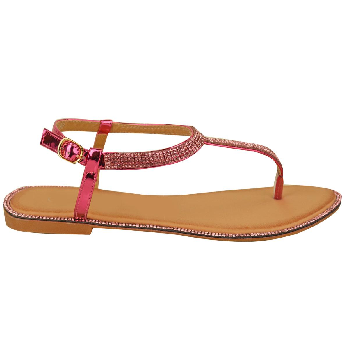 womens flat strappy sandals diamante summer toe