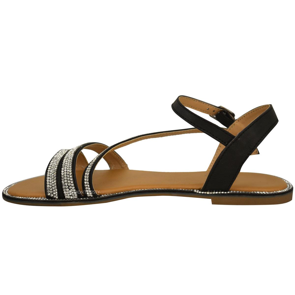 Unique Womens Faux Leather Comfort Cut Out Flat Shoes Flower Sandals Ladies Size UK 3-8 | EBay