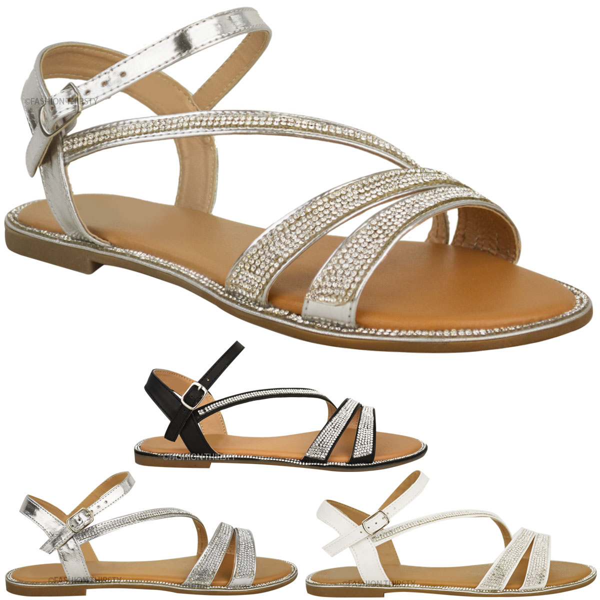 Create a sizzling summer look with our collection of women's sandals. Perfect for pairing with your favourite maxi dress, our strappy sandals are available in striking metallic, leather and suedette finishes.
