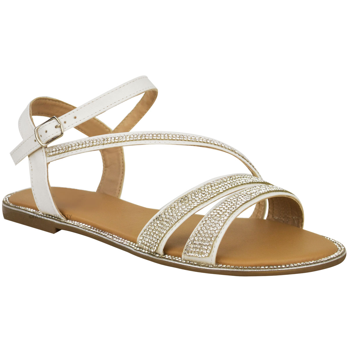 Ladies Womens Flat Strappy Peep Toe Diamante Ankle Strap ...
