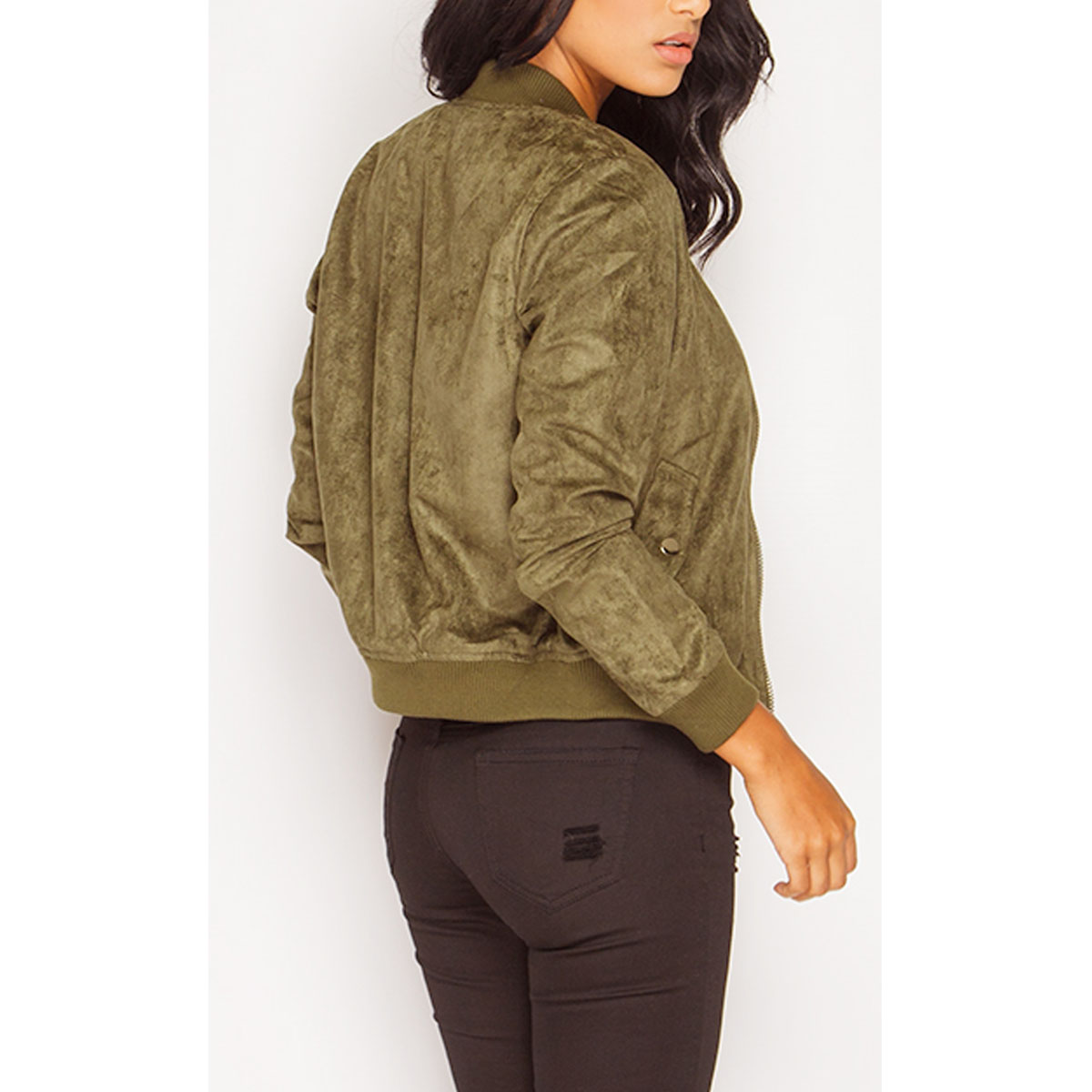 New Womens Ladies Suede Bomber Jacket Celeb Party Vintage Biker ...
