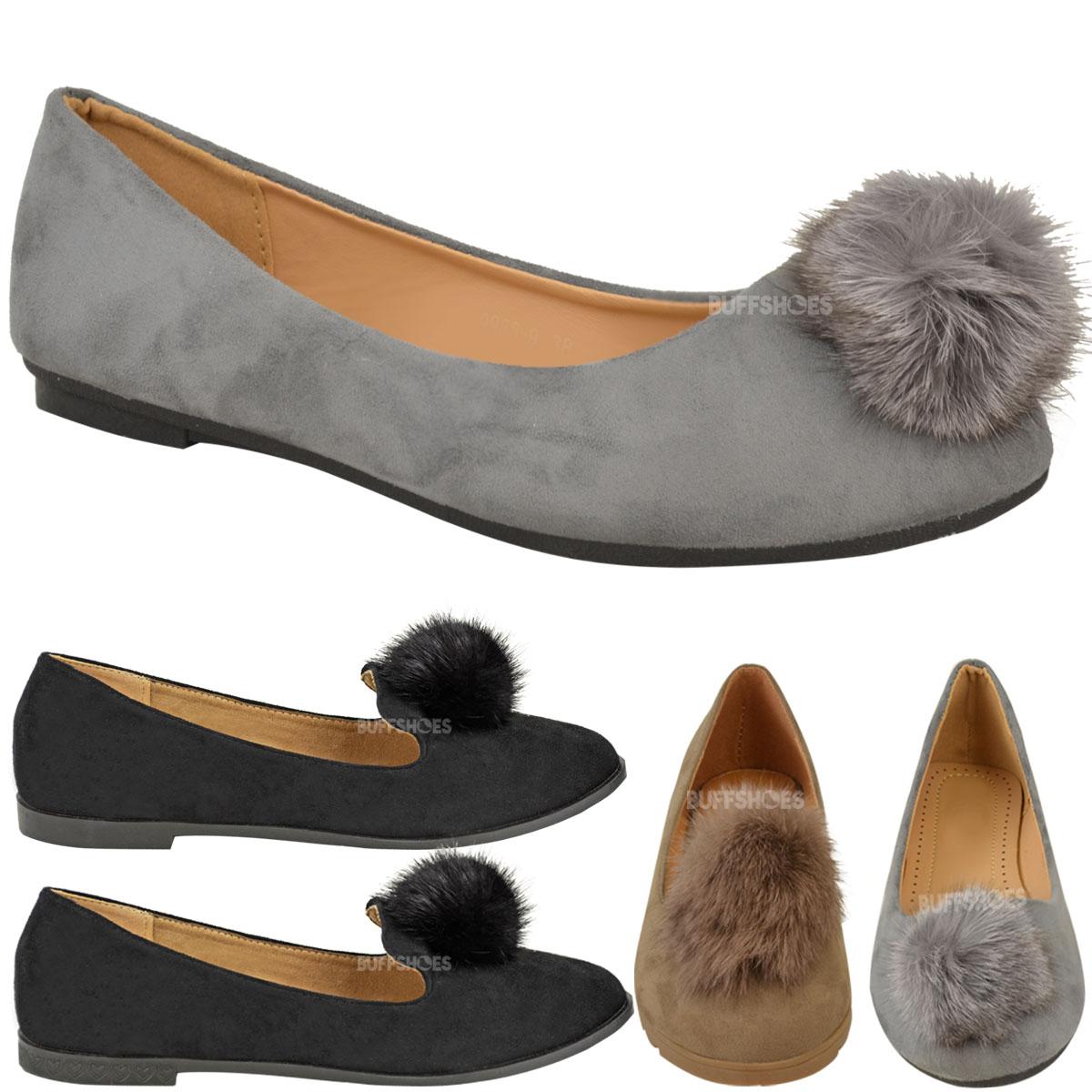 Womens Ladies Flat Slip On Dolly Shoes Ballet Pumps Fur ...