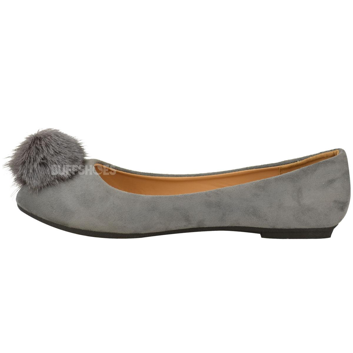 Womens Ladies Flat Slip On Dolly Shoes Ballet Pumps Fur