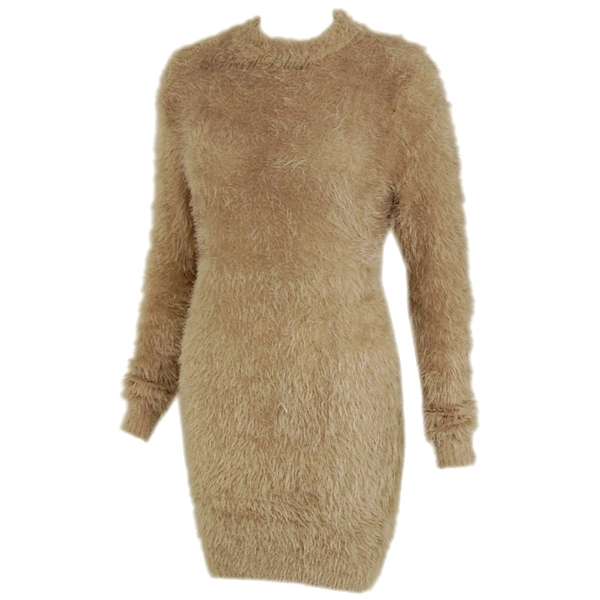 Ladies Womens Long Furry Jumper Dress Soft Fluffy Mohair Oversized ...