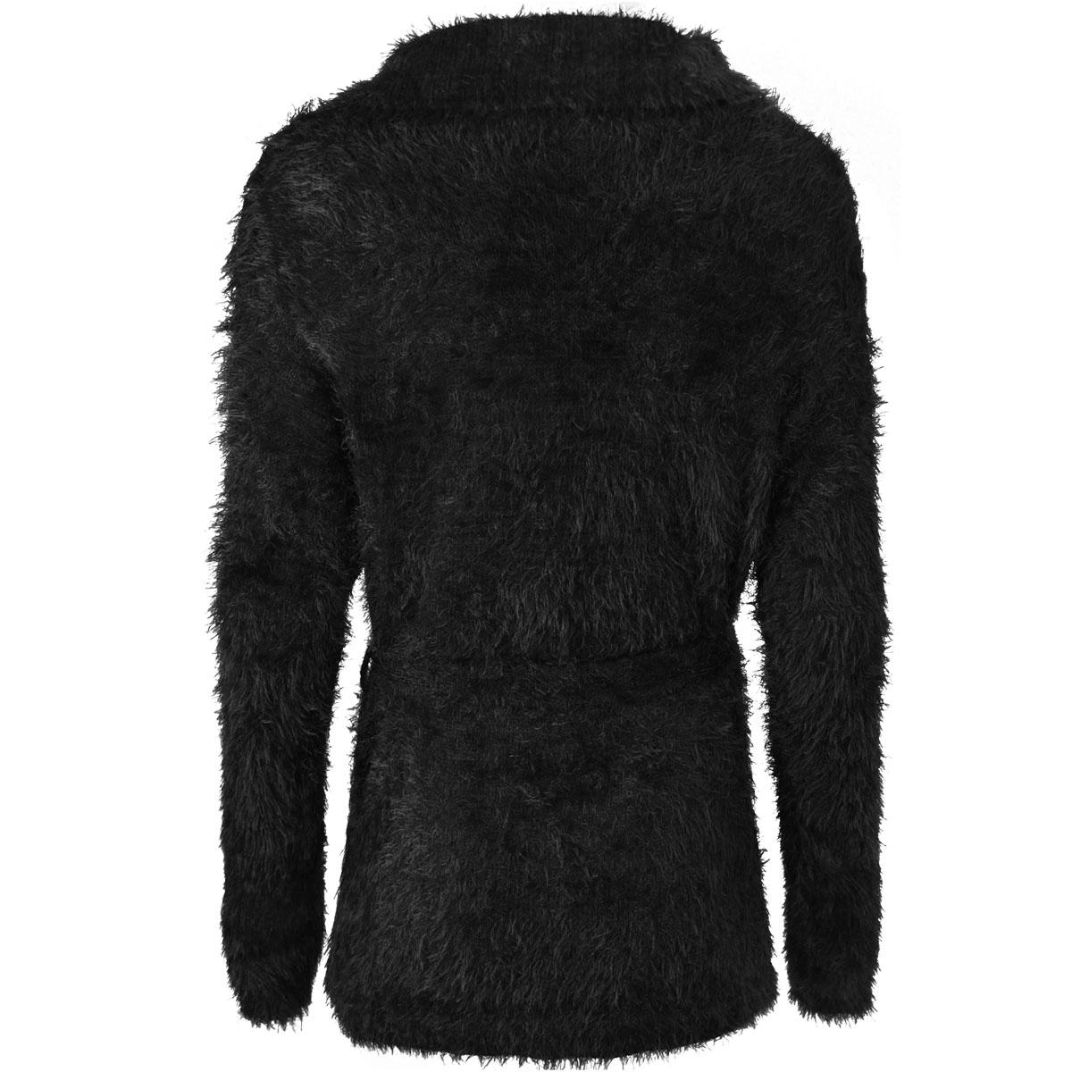 Womens Ladies Fluffy Cardigan Long Sleeve Jumper Winter