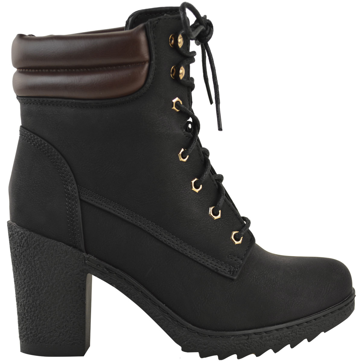 womens ladies ankle boots combat casual lace up grip sole