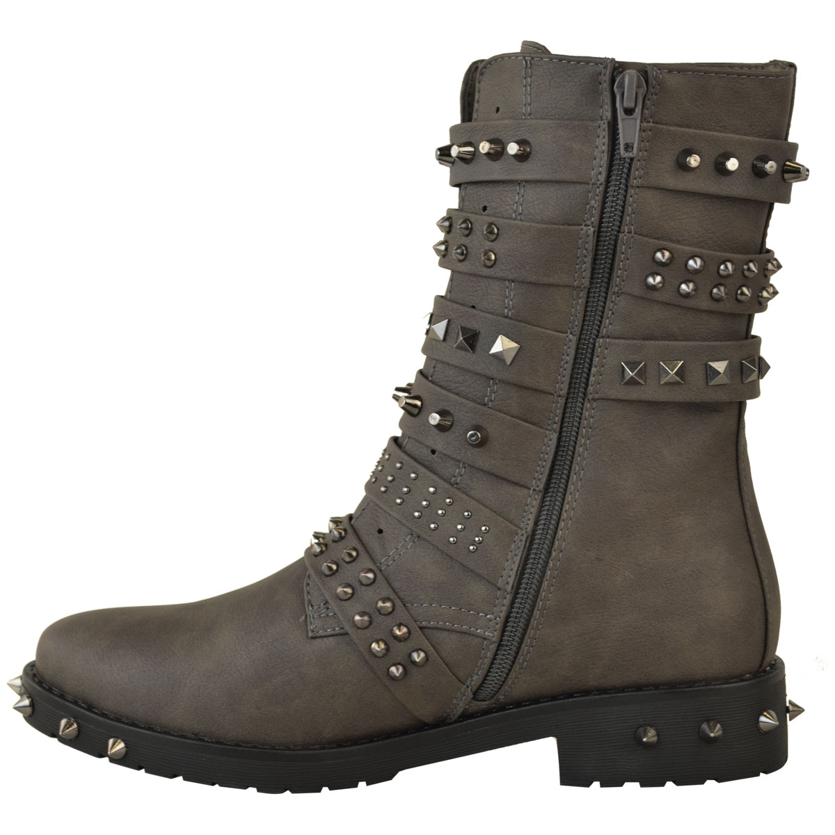 Womens Ladies Studded Ankle Boots Buckle Western Biker ...
