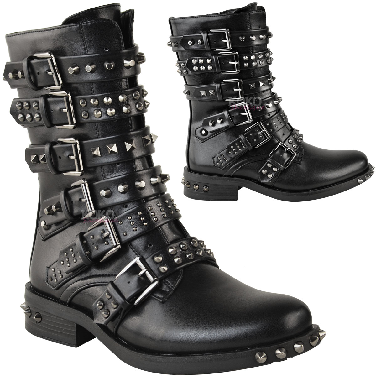 Model Womens Office Manic Stud Strap Boot Black Leather Boots | EBay