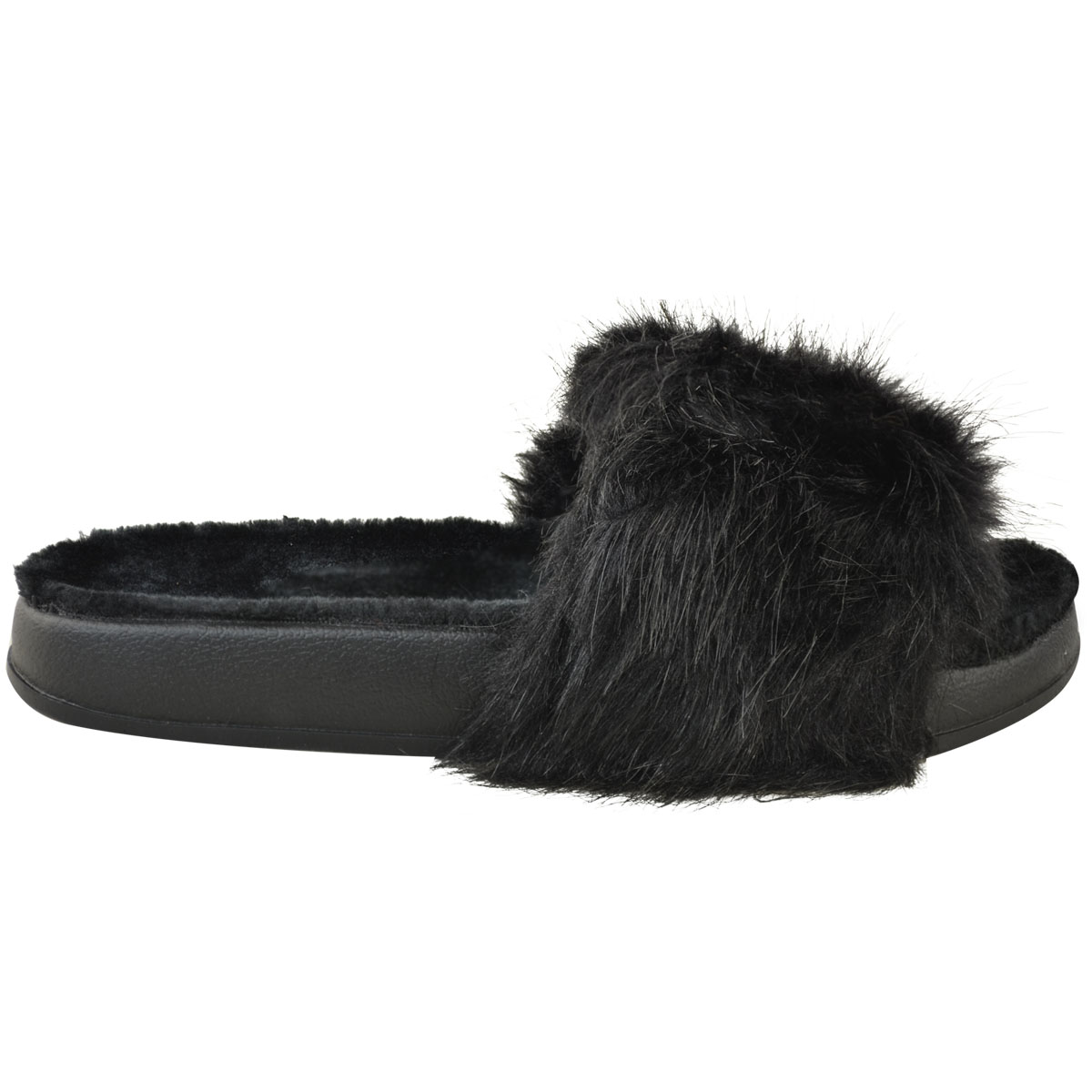 Womens Ladies Furry Slides Fluffy Sandals Summer Slides