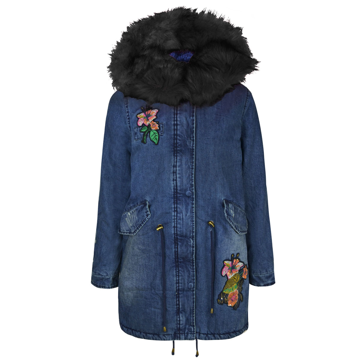 cd696207c New Womens Ladies Parka Jacket Winter Faux Fur Denim Floral Pink ...