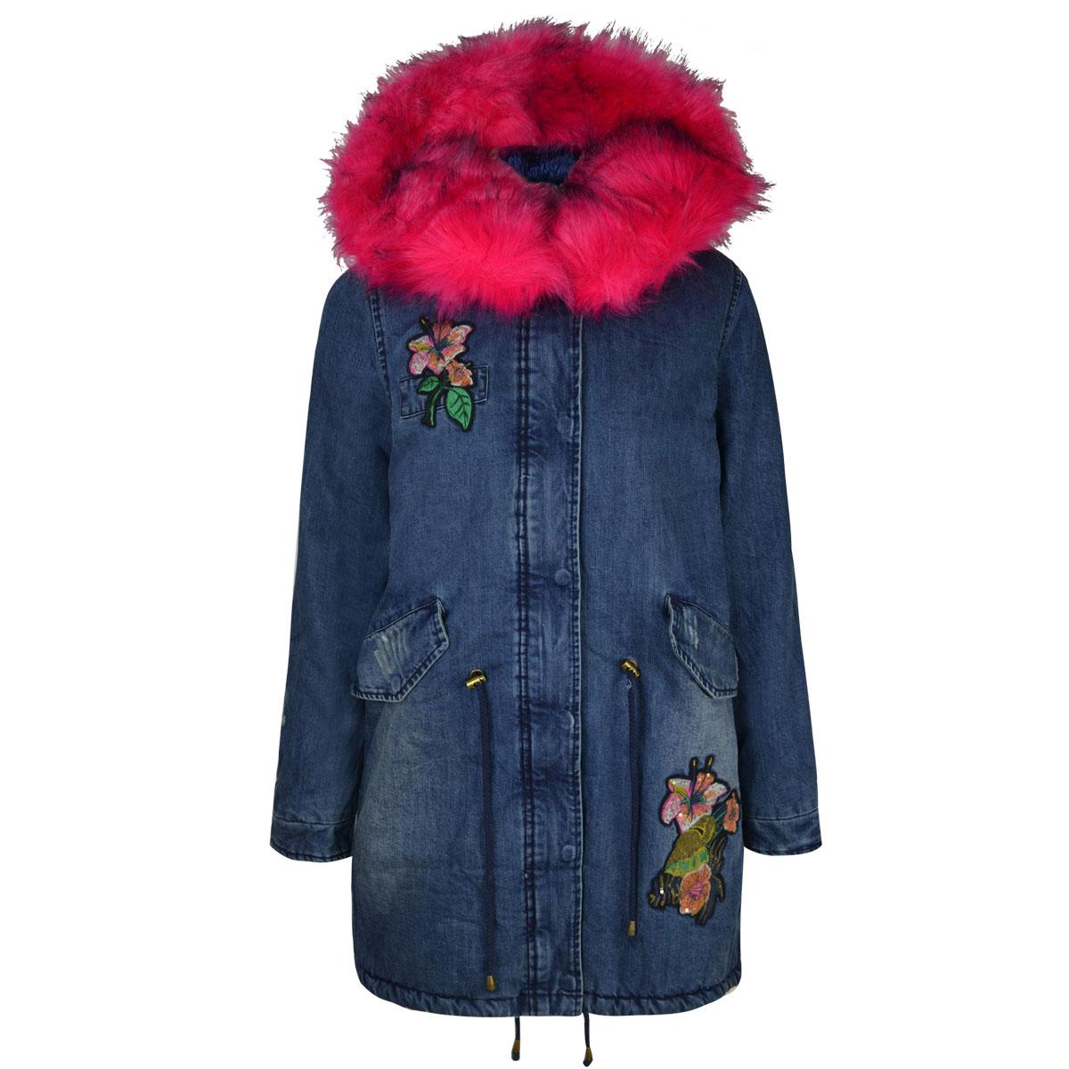 Womens Ladies Winter Coat Denim Floral Long Length Faux