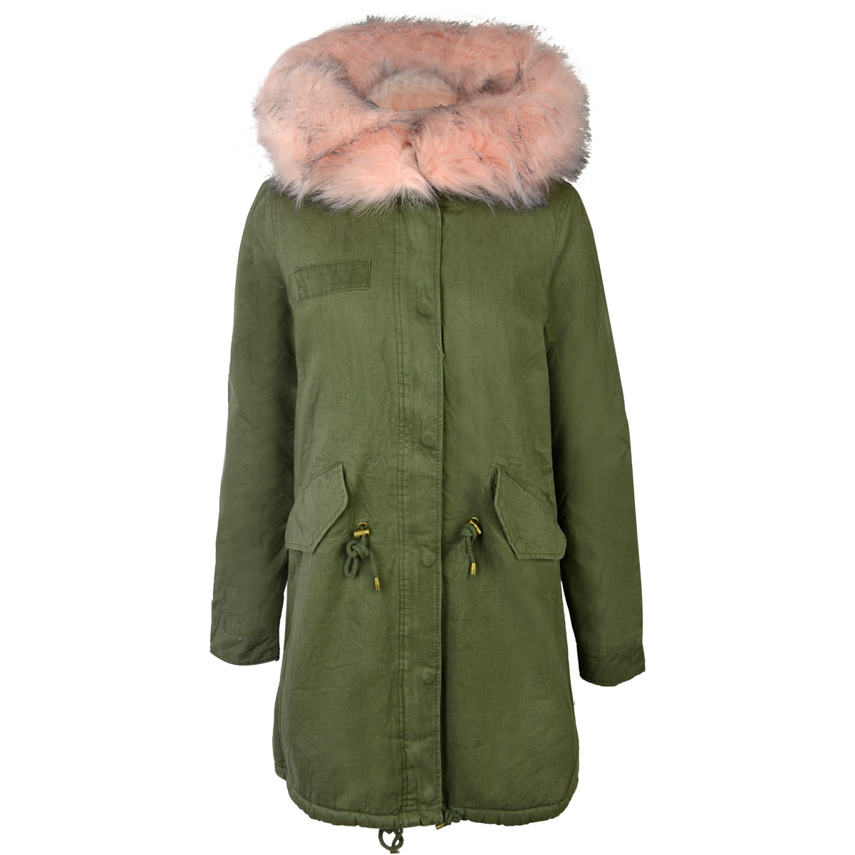 Ladies Womens Khaki Green Jacket Parka Grafitti Punk Retro Faux ...