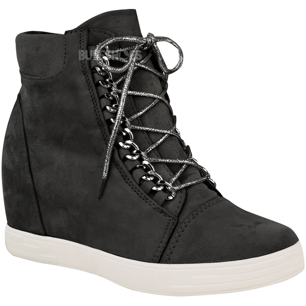 Womens Ladies Mid Heel Wedge High Top Ankle Trainers Lace Up ...