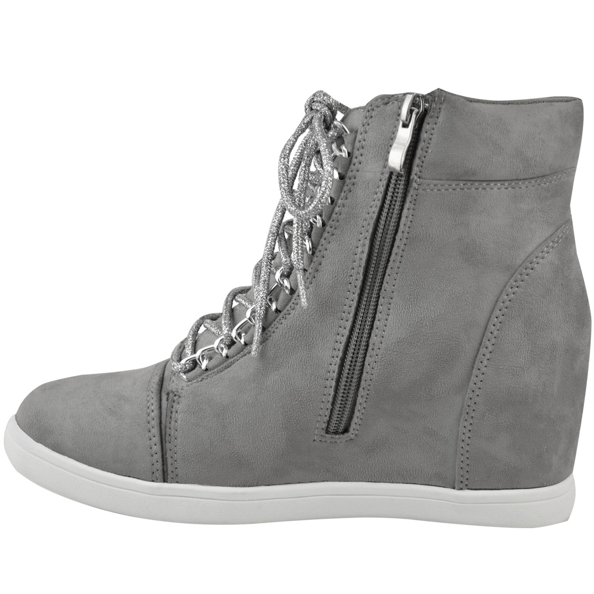Womens Ladies Mid Heel Wedge High Top Ankle Trainers Lace ...