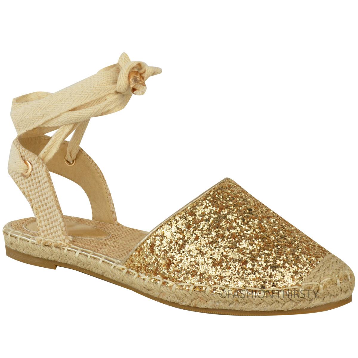 Womens Ladies Glitter Espadrilles Flat Low Heel Sandals