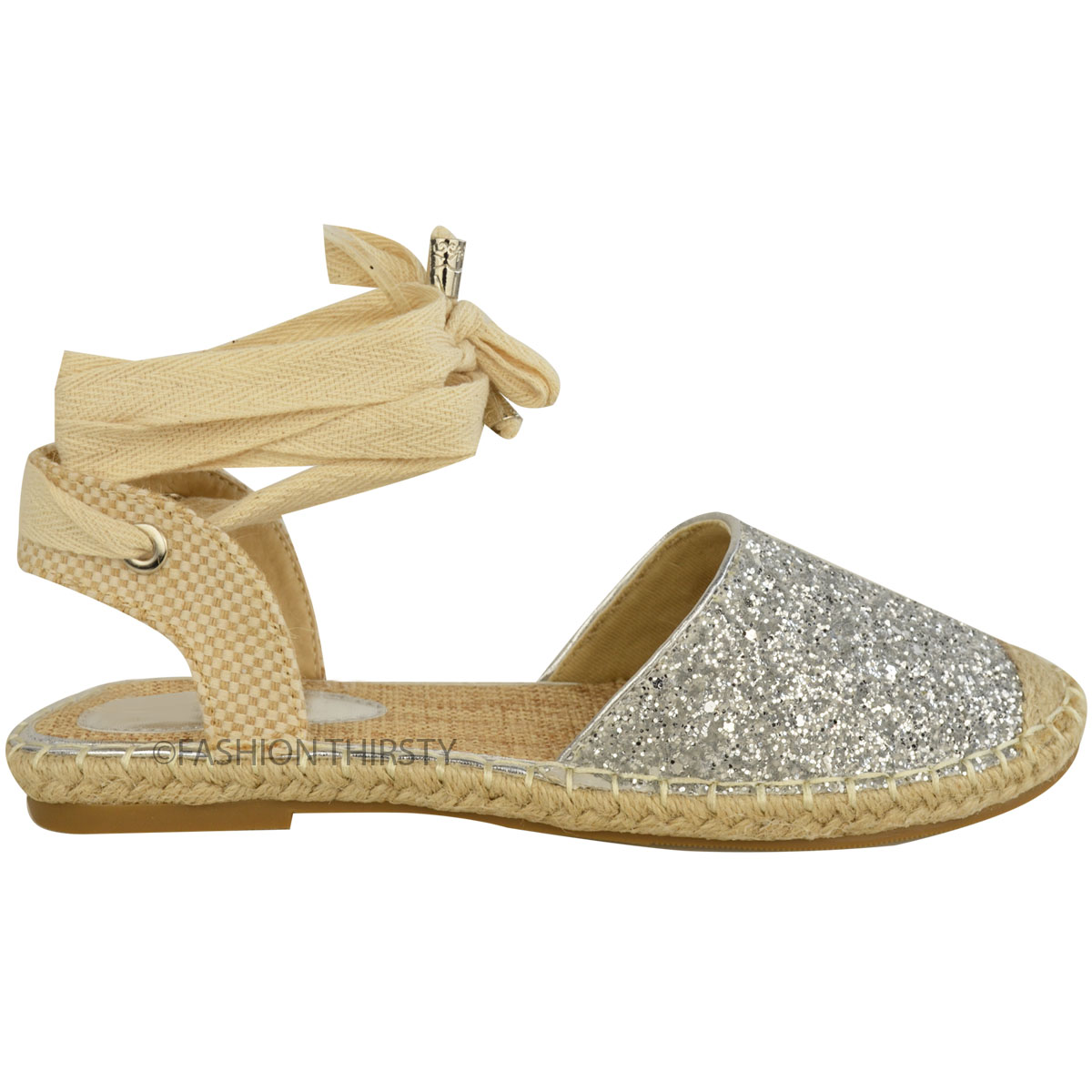 Womens Ladies Glitter Espadrilles Flat Low Heel Sandals