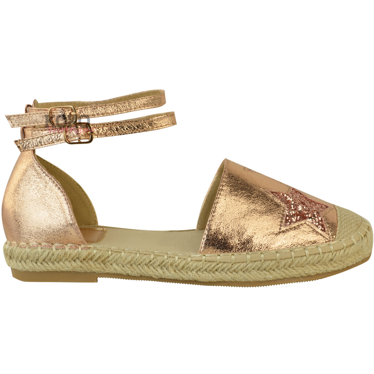Womens Ladies Rose Gold Flat Espadrille Shoes Sandals ...
