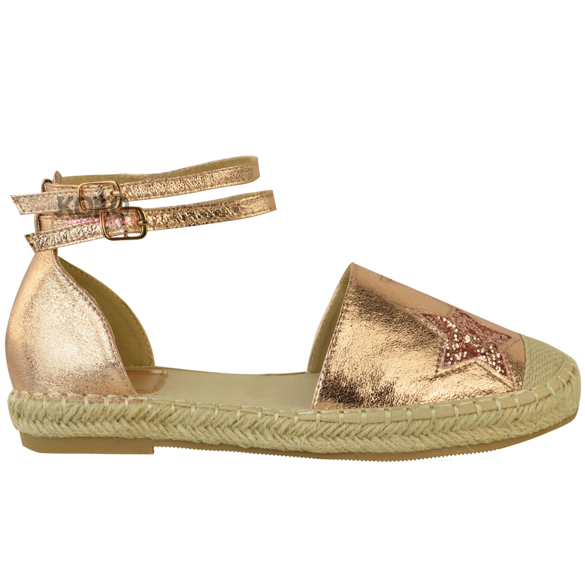Womens Ladies Flat Espadrilles Rose Gold Sandals Ankle ...