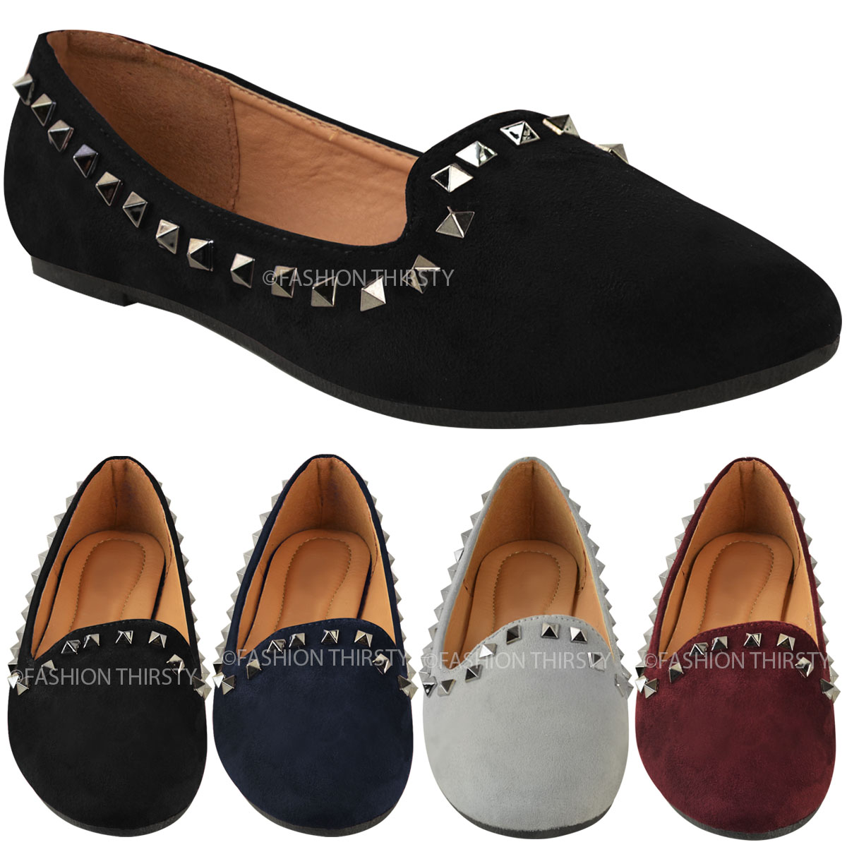 Womens Ladies Studded Flat Slip On Shoes Pumps Ballet Rock Dolly Girls Size New