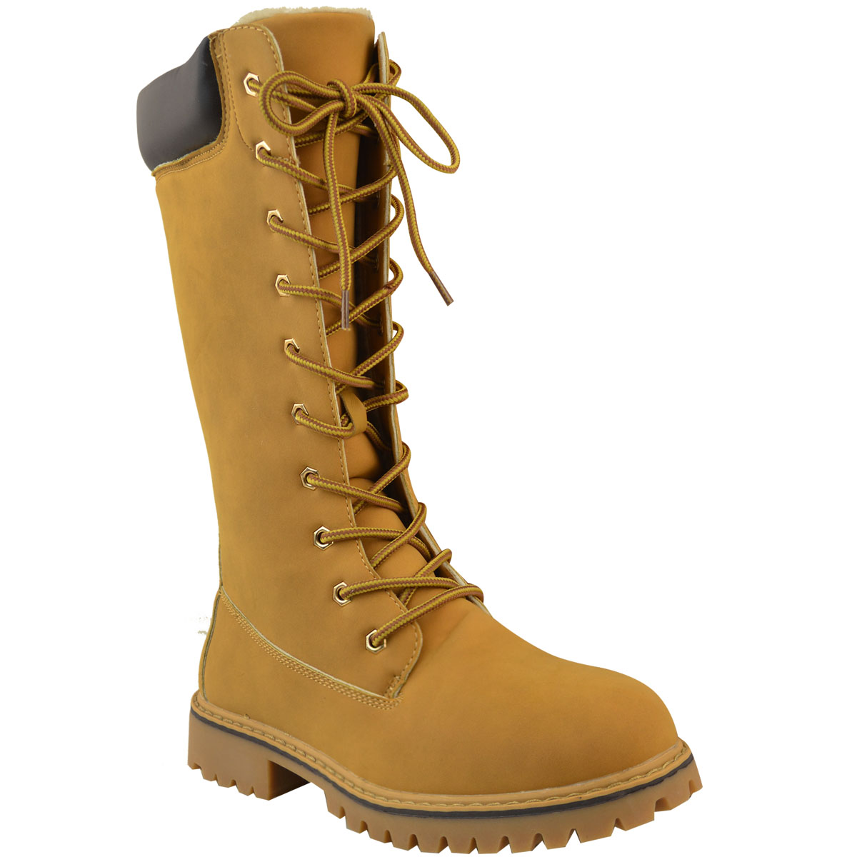 Womens Ladies Knee High Army Combat Winter Boots Timbs Lace Up ... 28df4d532