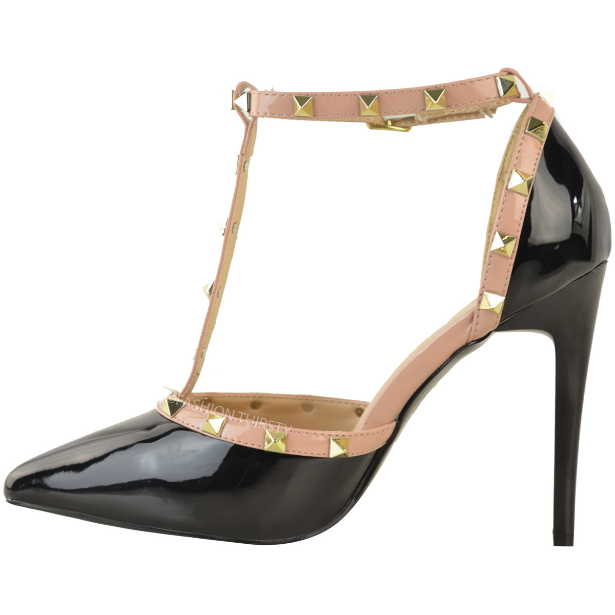 Ladies Black And Gold Studded Court Shoes