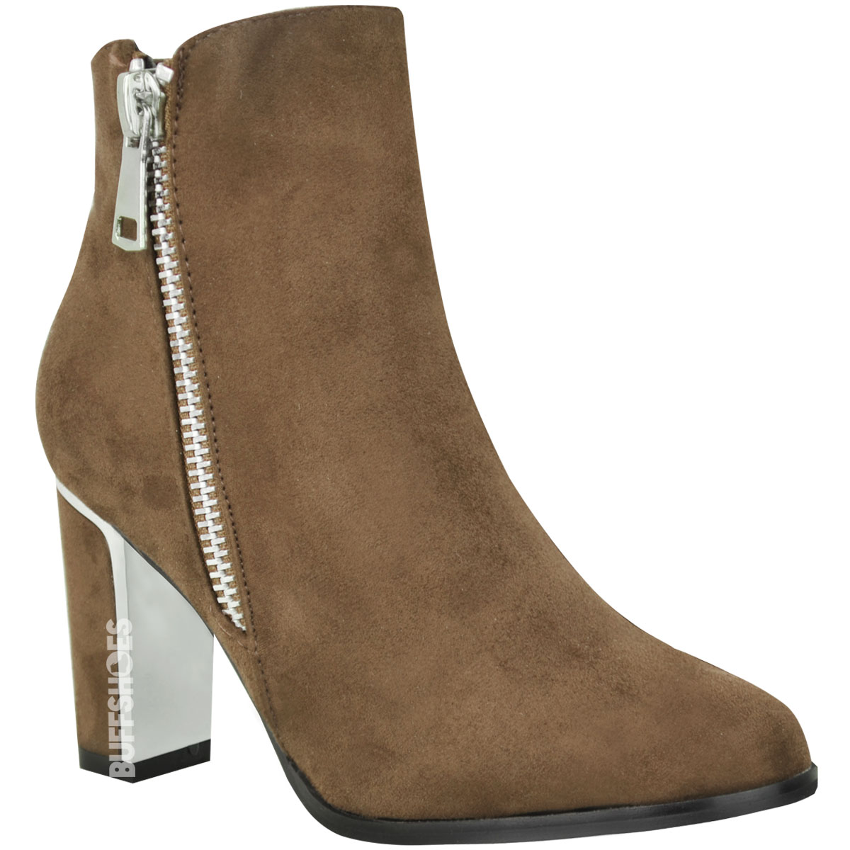 womens mid high low heel block platform ankle