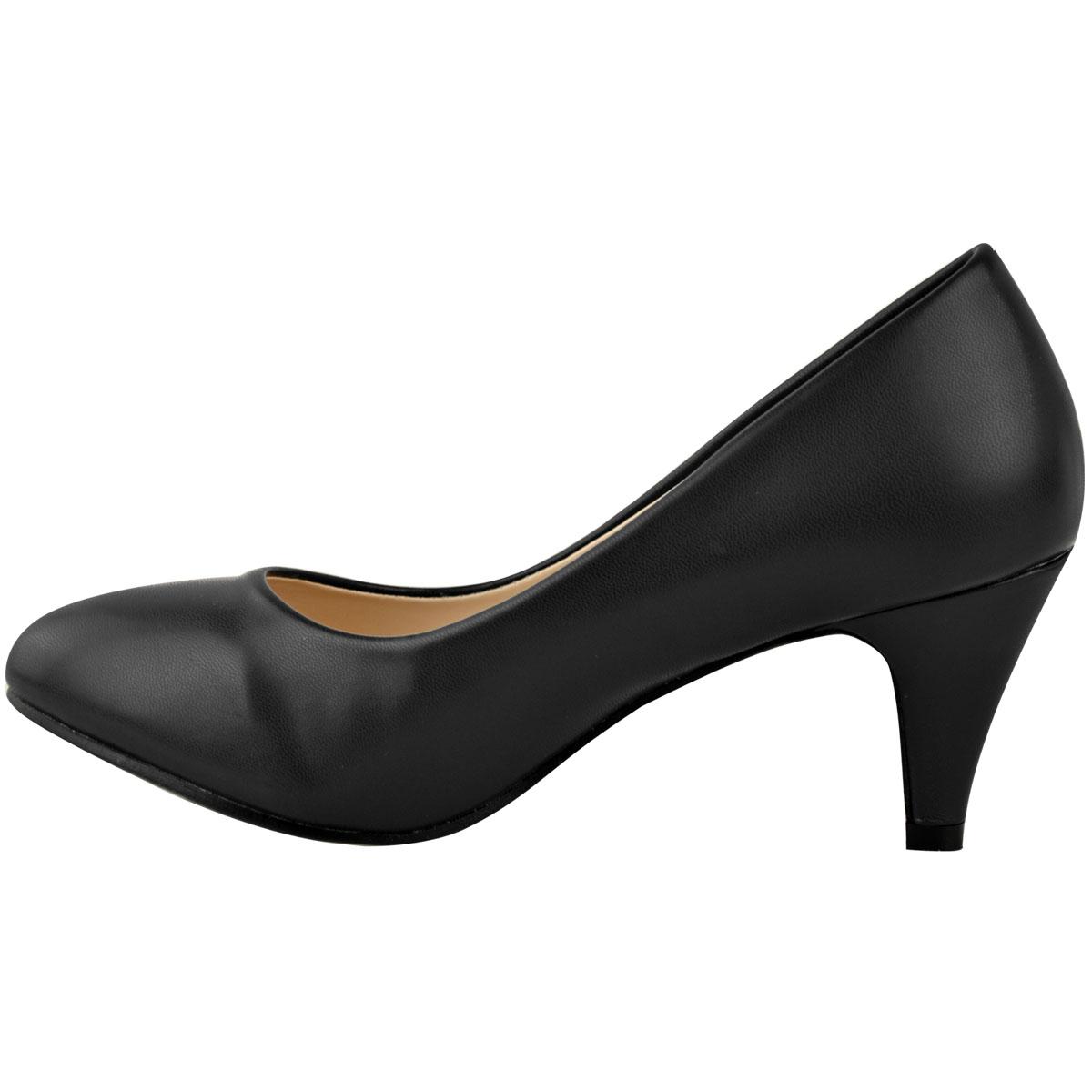 Womens Ladies Low Heel Court Shoes Comfort Work Office ...