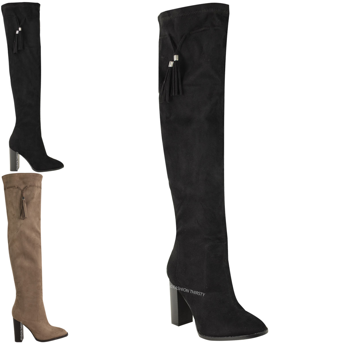 New Ladies Womens Stretch Over The Knee Boots Thigh High Block Heel Shoe Size UK