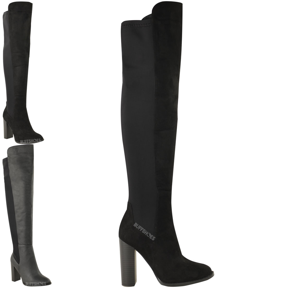 WOMENS LADIES OVER KNEE THIGH HIGH BLOCK HEEL BOOTS STRETCH WIDE ...