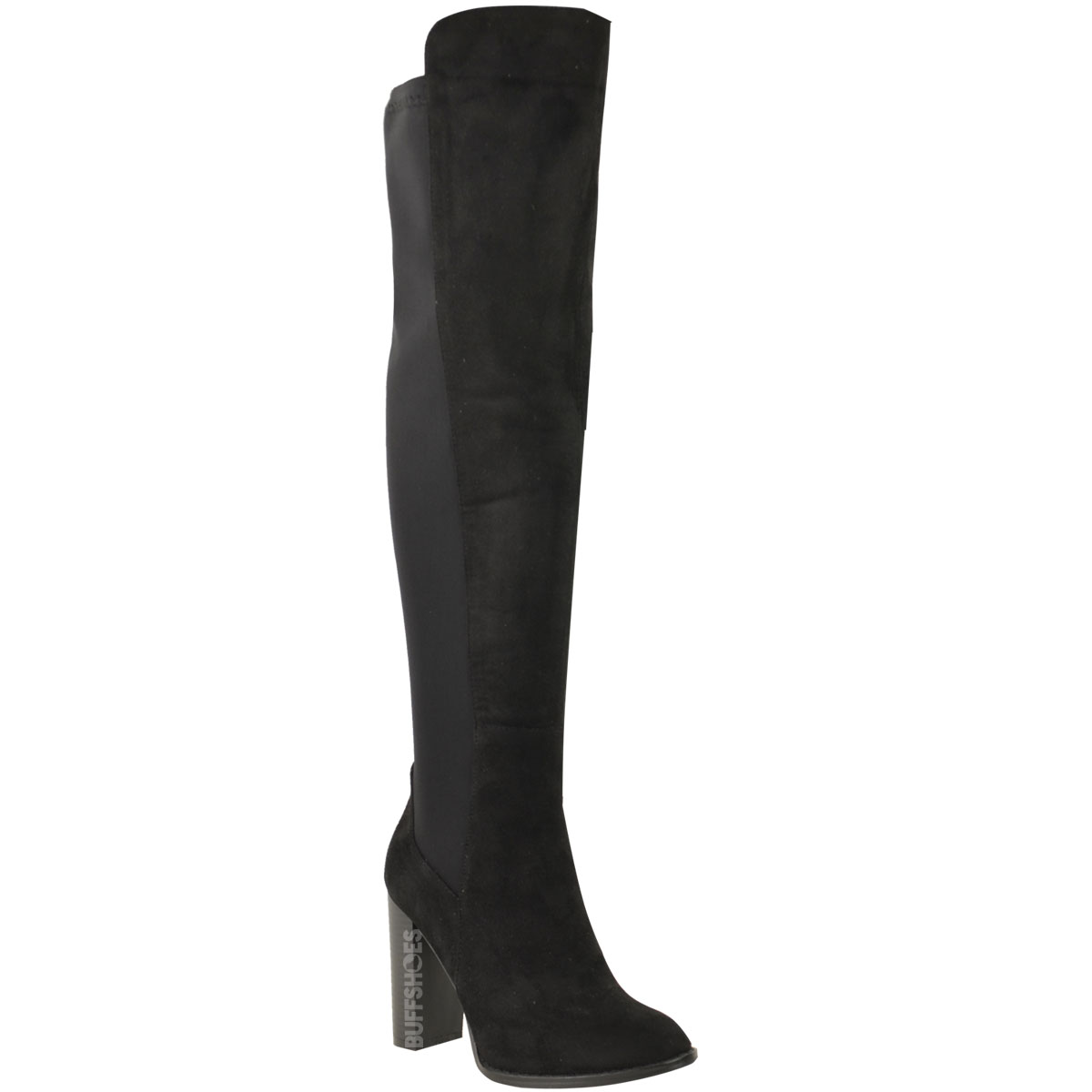 womens knee thigh high block heel boots