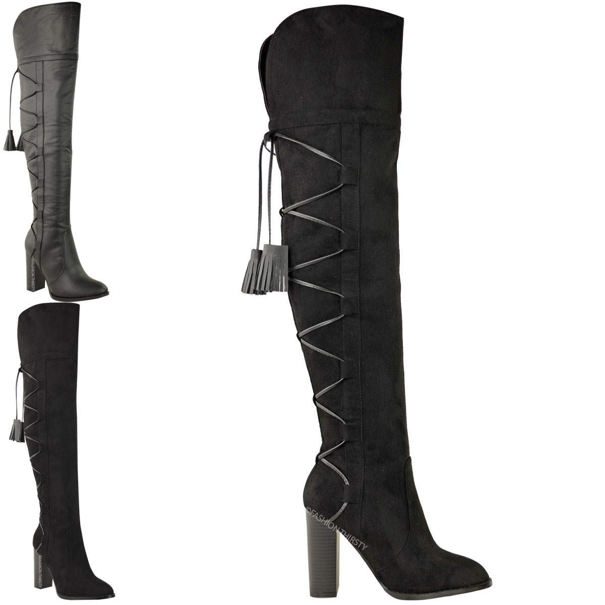 Ladies over knee thigh high riding boots block heel lace up back size