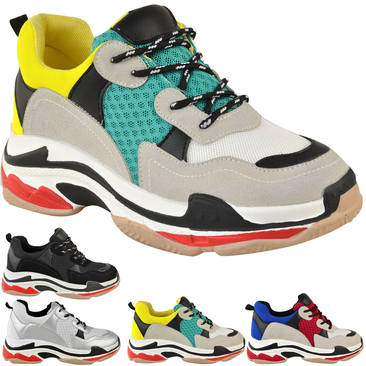 UK Shoes Store  New Womens Mesh Chunky Platform Sneakers Fitness Trainers Sports Footwear Shoes