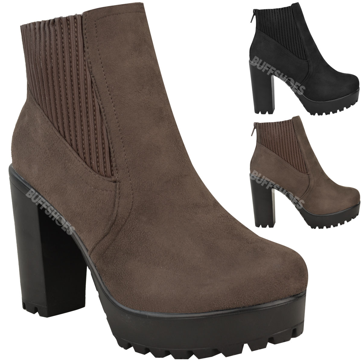 womens ankle boots stretchy block high heel