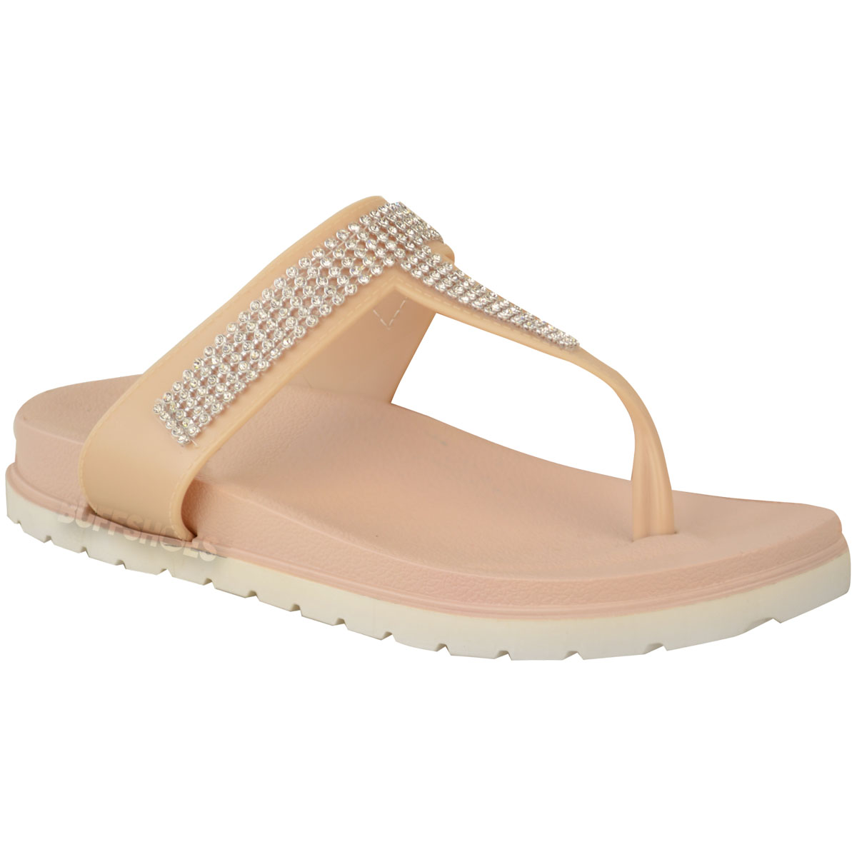 Womens-Ladies-Summer-Jelly-Sandals-Diamante-Wedge-Cushioned-Comfort-Shoes-Size thumbnail 9