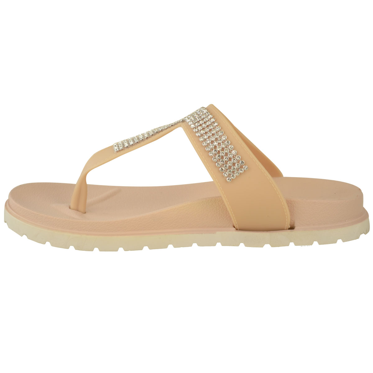 Ladies Womens Beach Summer Sliders Diamante Jelly Flip Flop Sandals Shoes Size