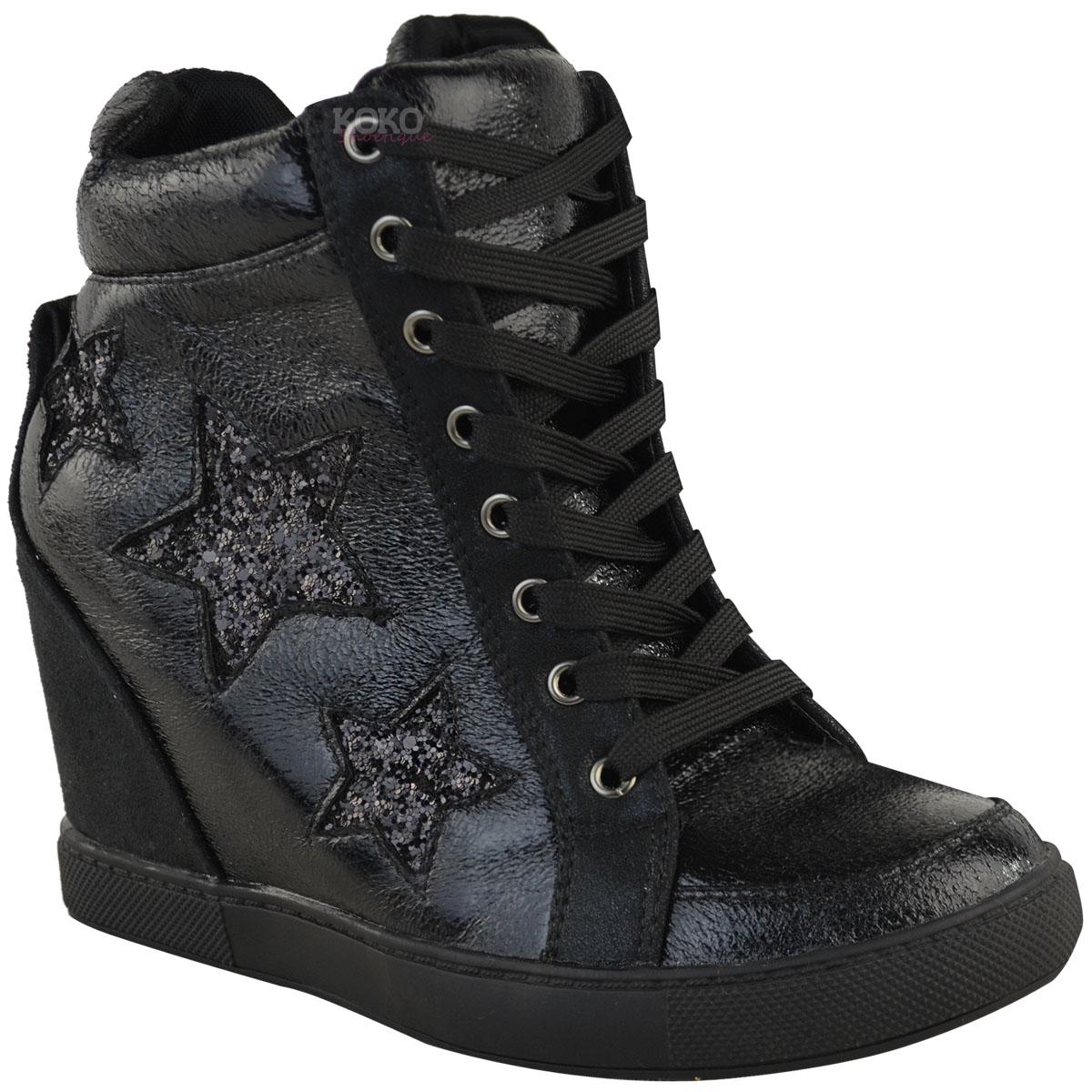 Women Casual Shoes Hidden Increasing Platform Sneakers PU