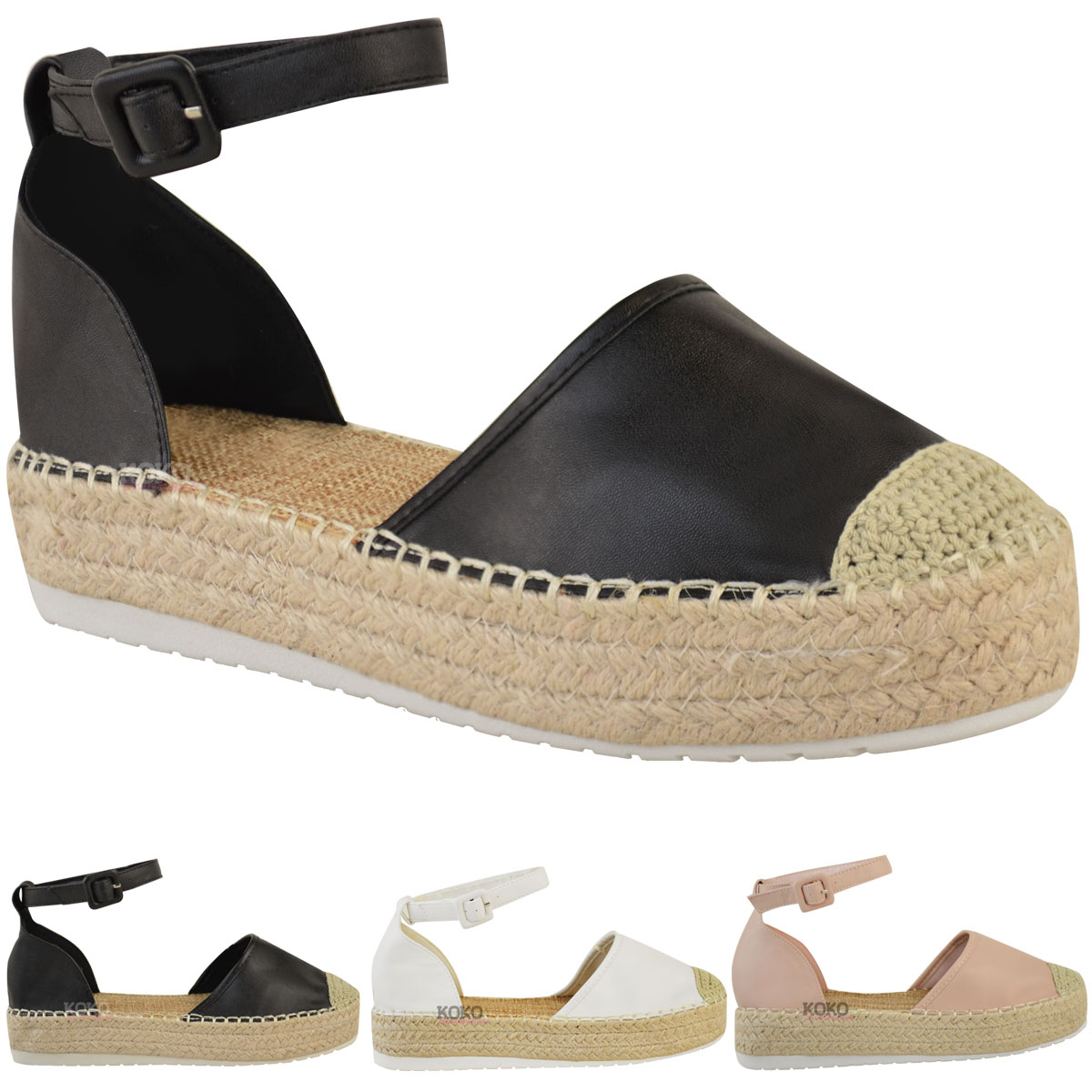 Womens Ladies Espadrilles Wedge Platform Sandals Summer ...