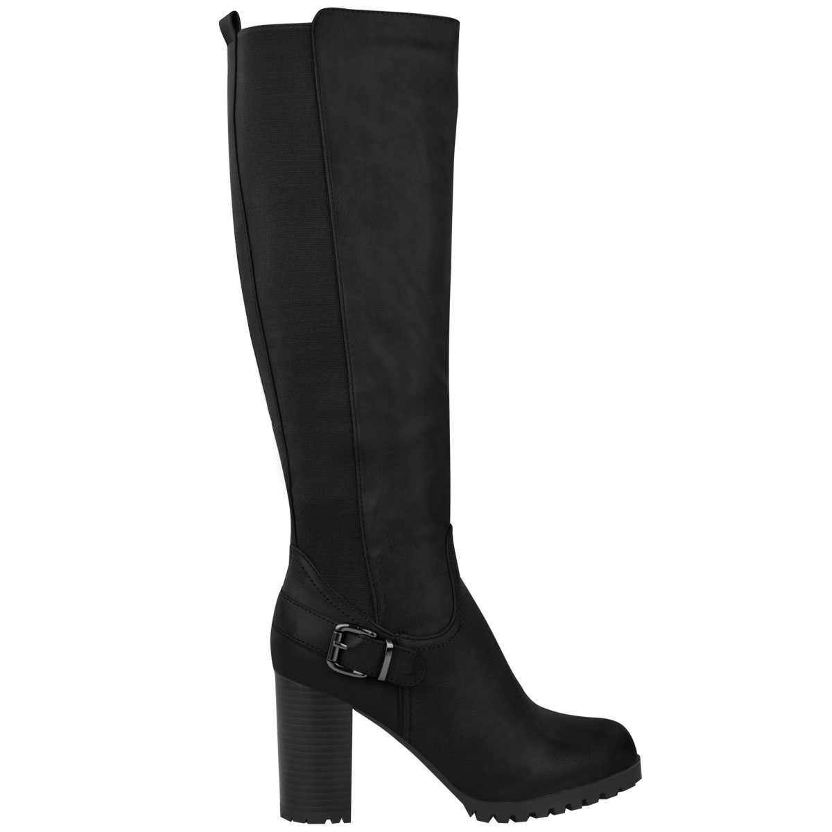 Womens-Ladies-Knee-Calf-High-Boots-Block-Heels-Stretchy-Thigh-Shoes-Grip-Size thumbnail 3