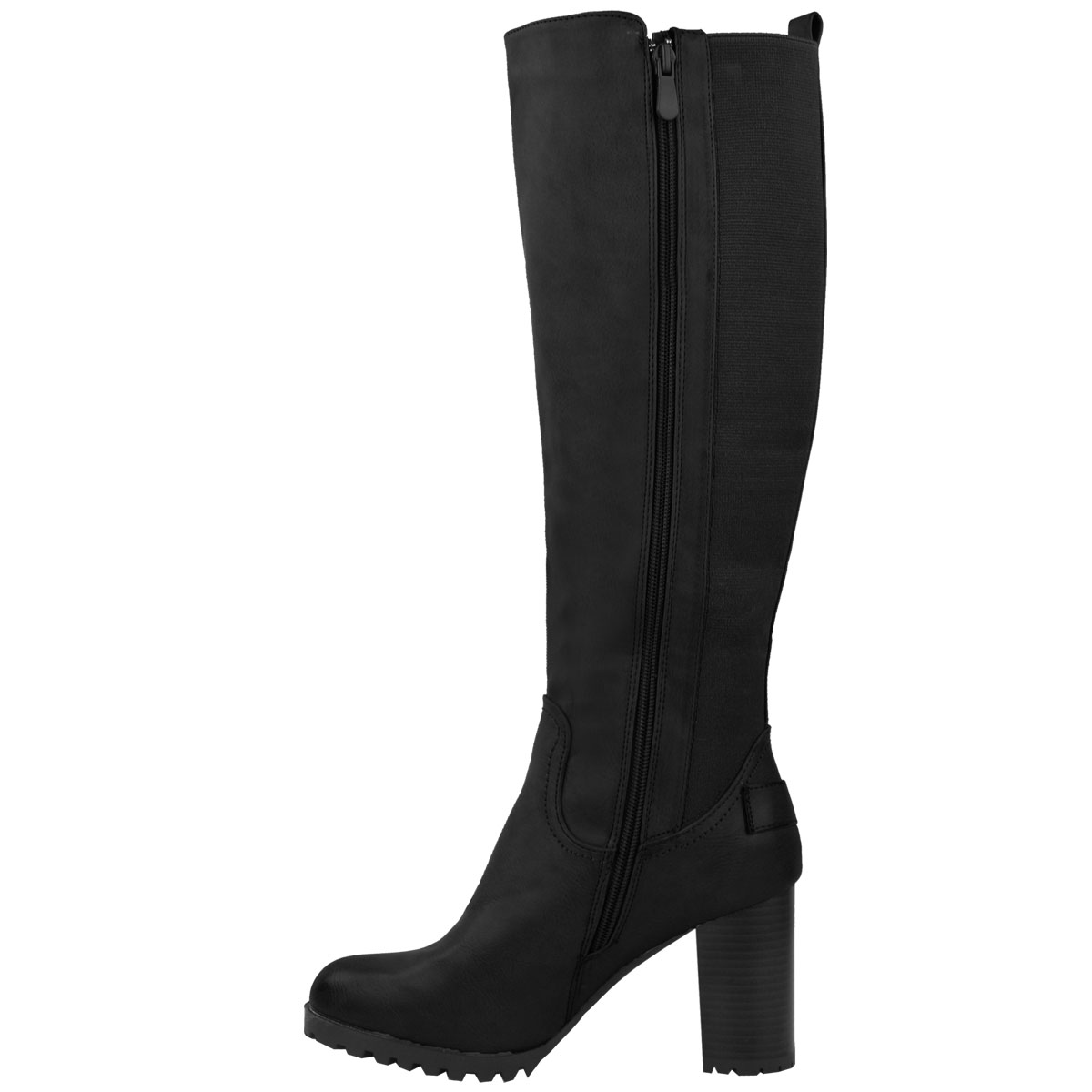 Womens-Ladies-Knee-Calf-High-Boots-Block-Heels-Stretchy-Thigh-Shoes-Grip-Size thumbnail 4