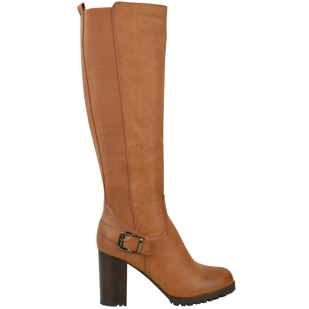 Womens-Ladies-Knee-Calf-High-Boots-Block-Heels-Stretchy-Thigh-Shoes-Grip-Size thumbnail 8