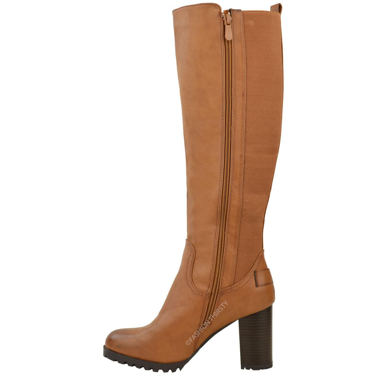 womens knee high chunky block heel boots