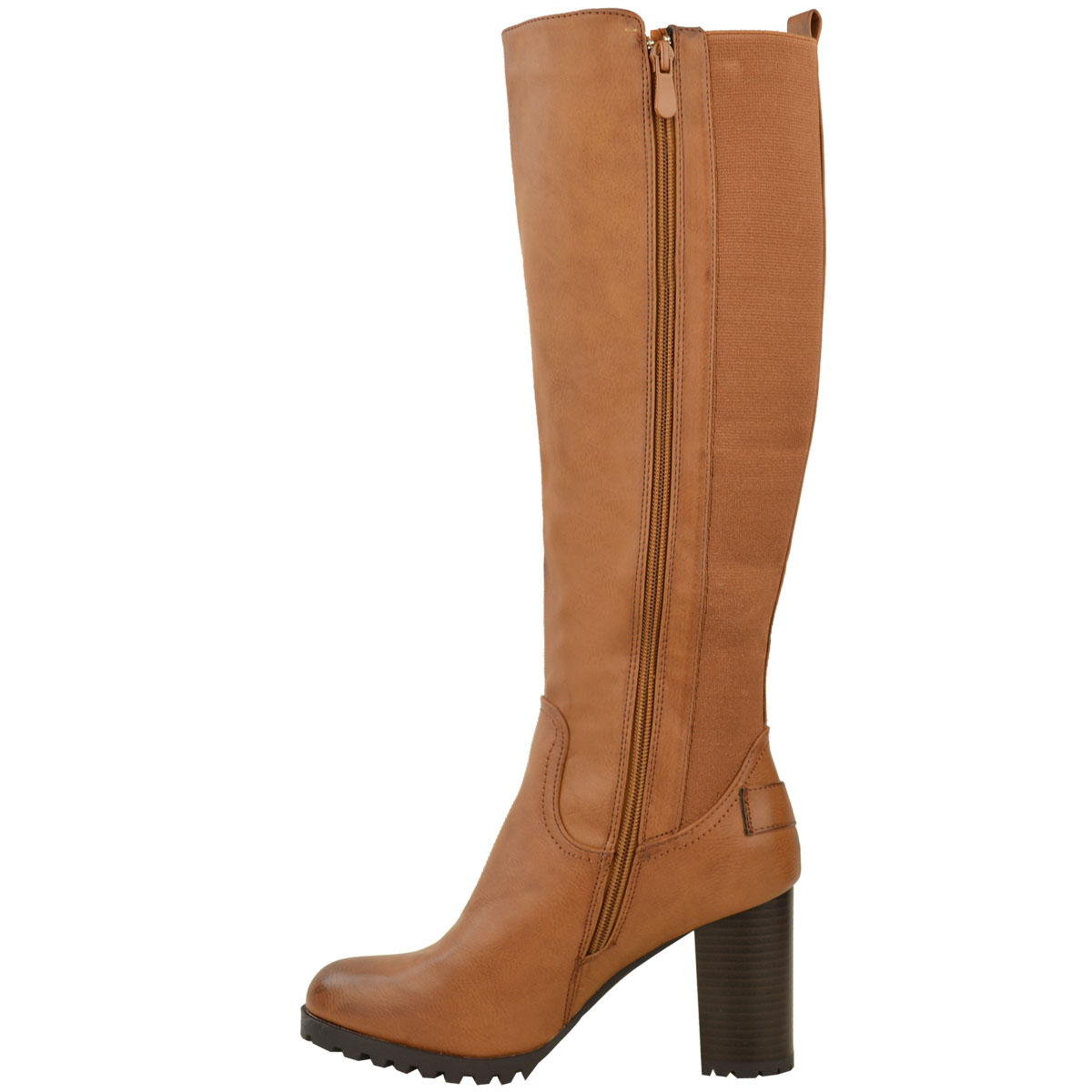 Creative Womens Brown Leather Style Stretch Wide Calf Flat Knee High Biker Boots