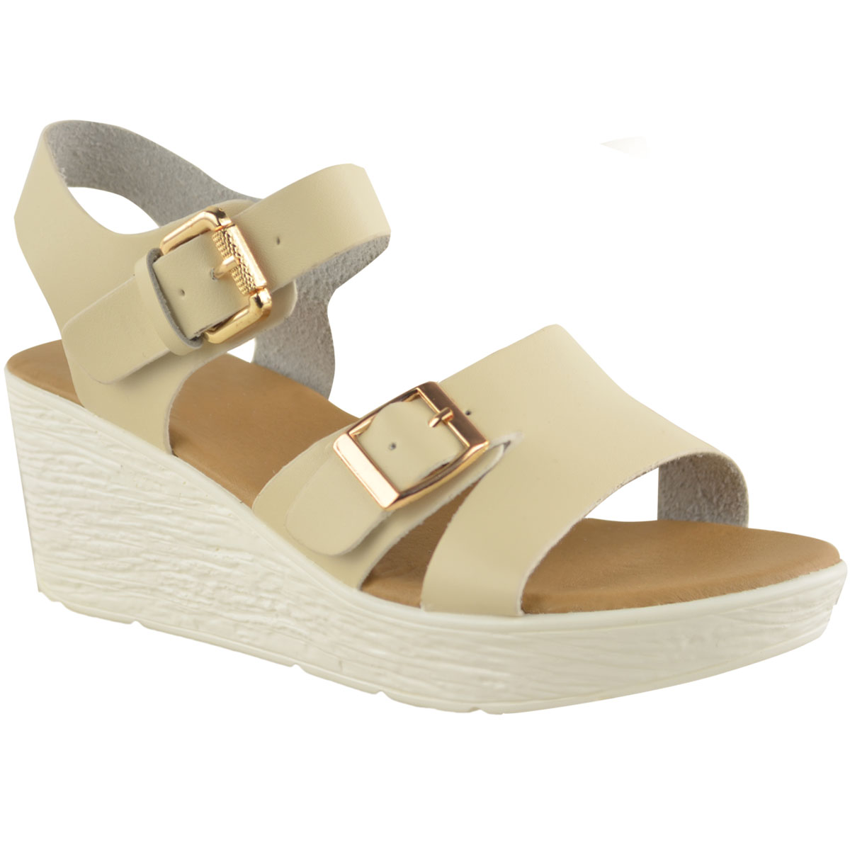 New Womens Ladies Low Wedge Sandals Strappy Summer Wide