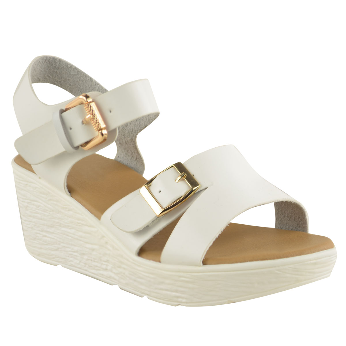NEW WOMENS LADIES LOW WEDGE SANDALS STRAPPY SUMMER WIDE ...