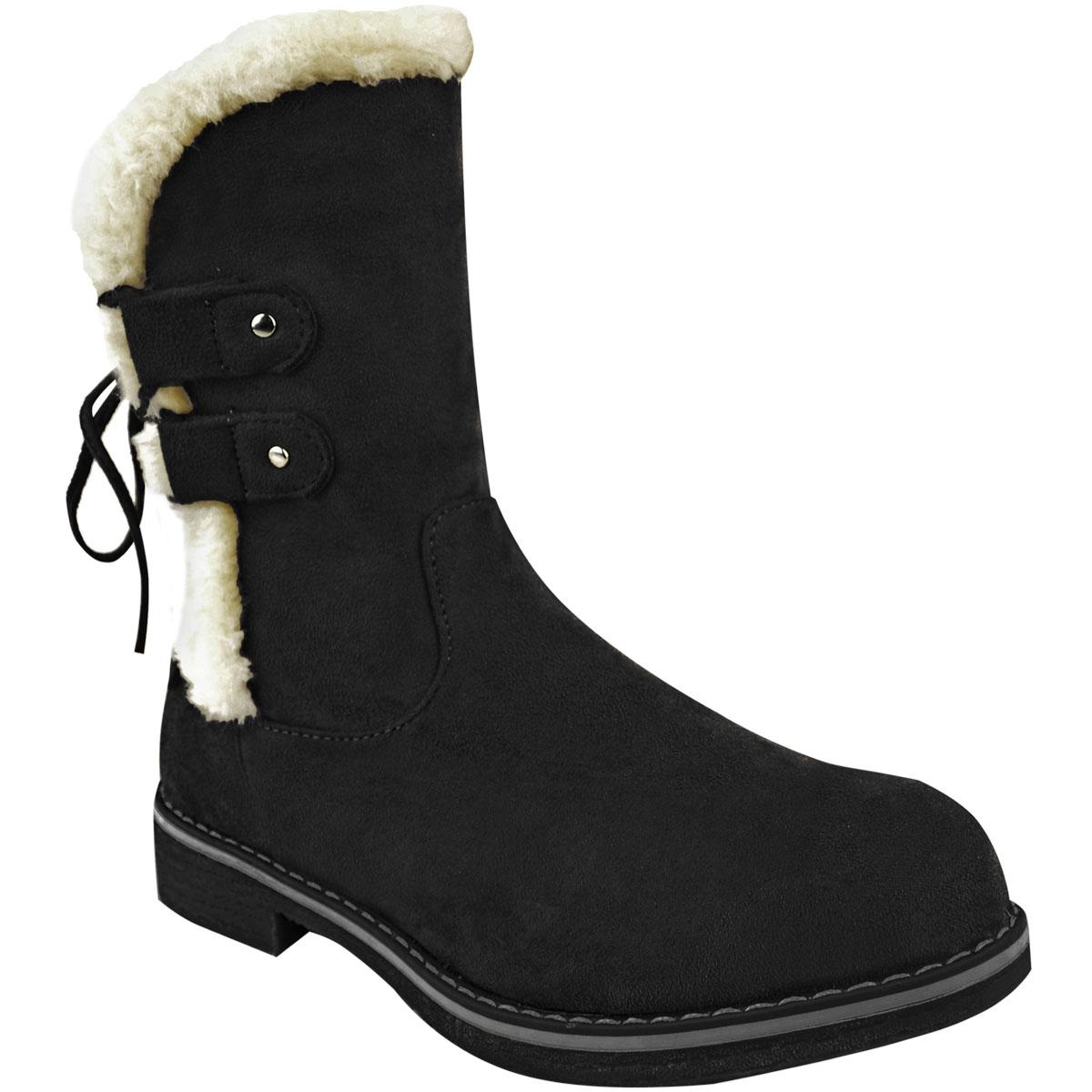 Womens Ladies Winter Flat Low Heel Walking Ankle Boots Faux Fur Fleece Warm New