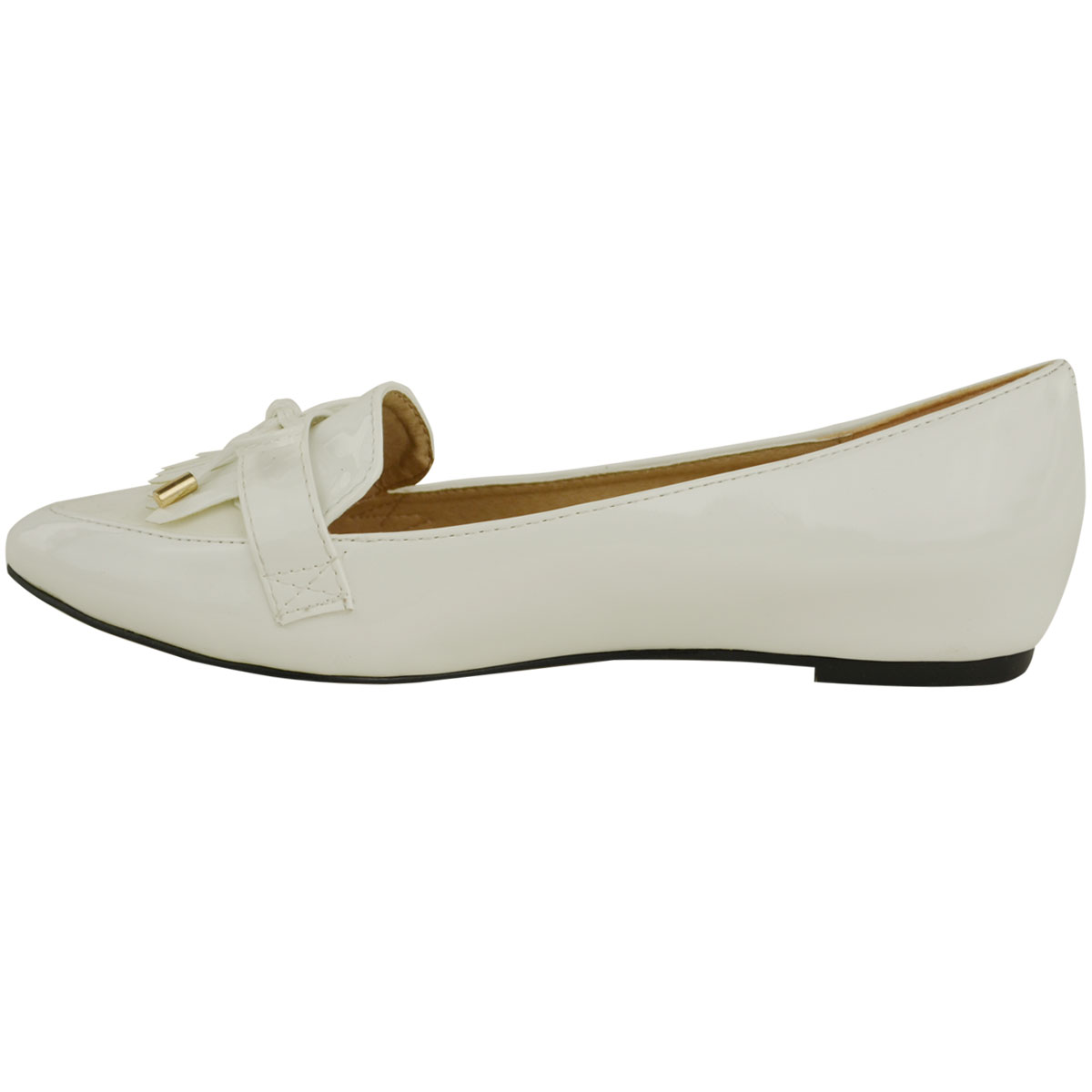 Flat Dolly Shoes With Gold Toe
