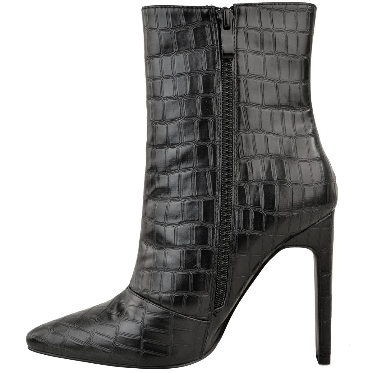 f0ebed50f36d Womens Block High Heel Black Croc Ankle Boots Smart Work Office Size ...