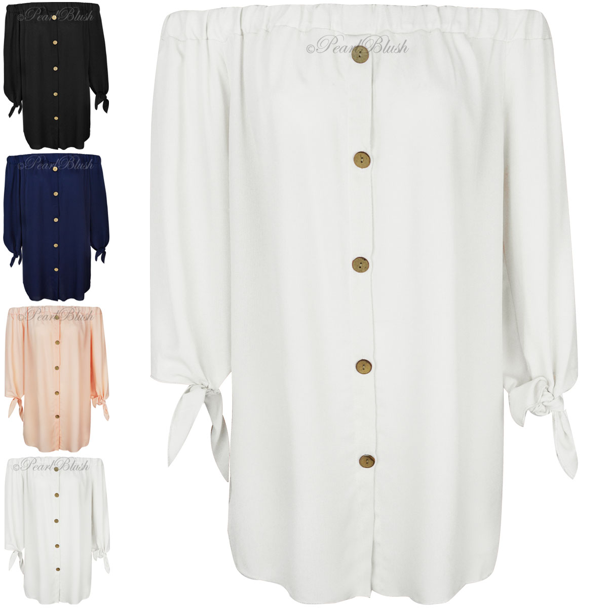 Womens-Ladies-Off-The-Shoulder-Bardot-Button-Shirt-Dress-Top-Size